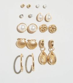 9-pack-gold-faux-shell-and-pearl-stud-earrings